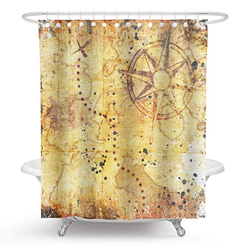 Ormis Old Treasure Map On Wooden Grunge Background Shower Curtain,Polyester Fabric Waterproof Shower Curtains for Bathroom, Bath Curtain Hooks Included, 72X72 inches