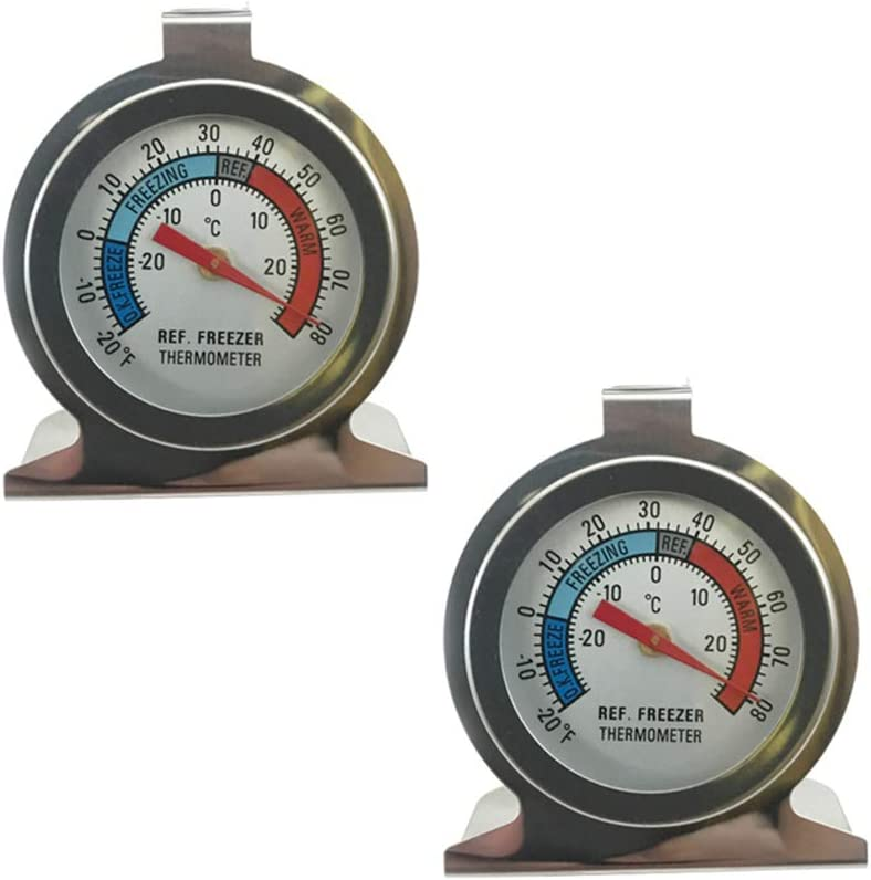 2 Pack Refrigerator Thermometers Large Classic Series Large Dial Fridge Thermometer