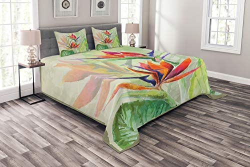 Lunarable Bird of Paradise Bedspread, Fine Art Style Painting Colorful Tropical Flora Print, Decorative Quilted 3 Piece Coverlet Set with 2 Pillow Shams, King Size, Light Green