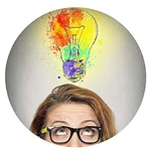 alfombrilla de ratón mujer que tiene la brillante idea colorido bombilla encima de la cabeza - ronda - 20cm
