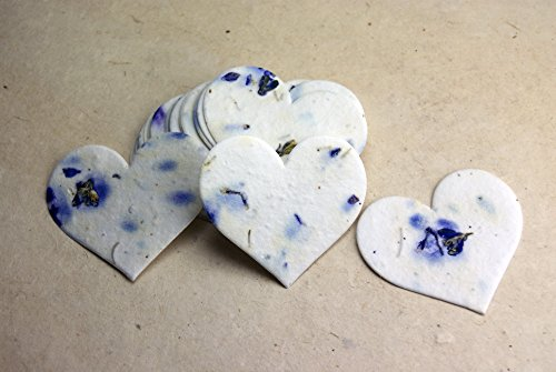 Large Purple Heart Shape Seed Embedded Blue Larkspur Handmade Paper Tags