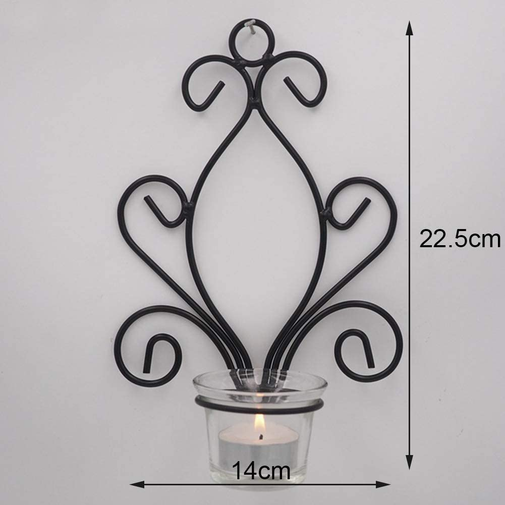 nakw88 Candlestick Art Nordic Style Wall Mount Hanging Craft Stand Iron Gift Party Wedding Holder Tealight Home Decor Props