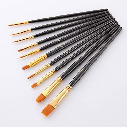 KPSRB 10個/ブルーナイロンアーティストブラシアート文具用品ペイントブラシ専門の水彩アクリル木製ハンドルペイントセット みがきます (Color : 2)