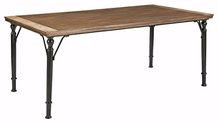 Ashley Furniture Signature Design   Tripton Dining Room Table   Rectangular    Medium Brown Top With