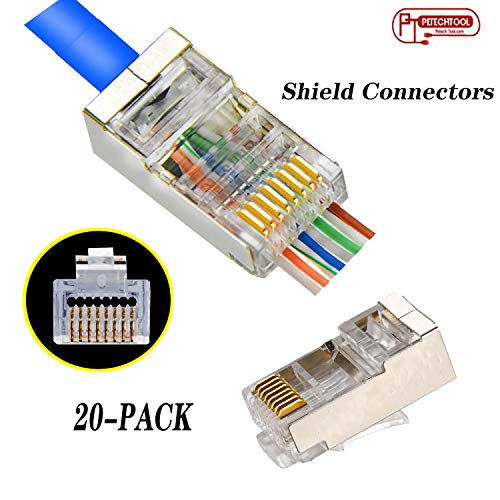 RJ45 CAT5 CAT6 Shielded Connector End Pass Through Gold Plated Ethernet 8P8C Modular Plug 20Pack ()