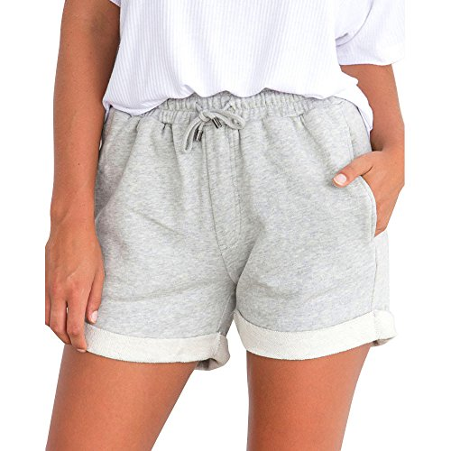 Women's Solid Elastic Waist Scalloped Casual Fitted Shorts Gray