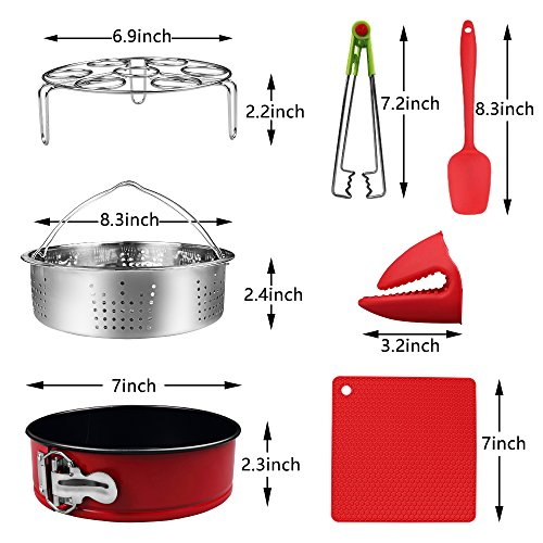 7-pcs Accessories for Instant Pot 5,6, 8 Qt, Steamer Basket, Egg Steamer Rack, Non-Stick Springform Pan, Steaming Stand, Silicone Spoonula,1 Pair Silicone Cooking Pot Mitts by Homtant by Homtant (Image #5)
