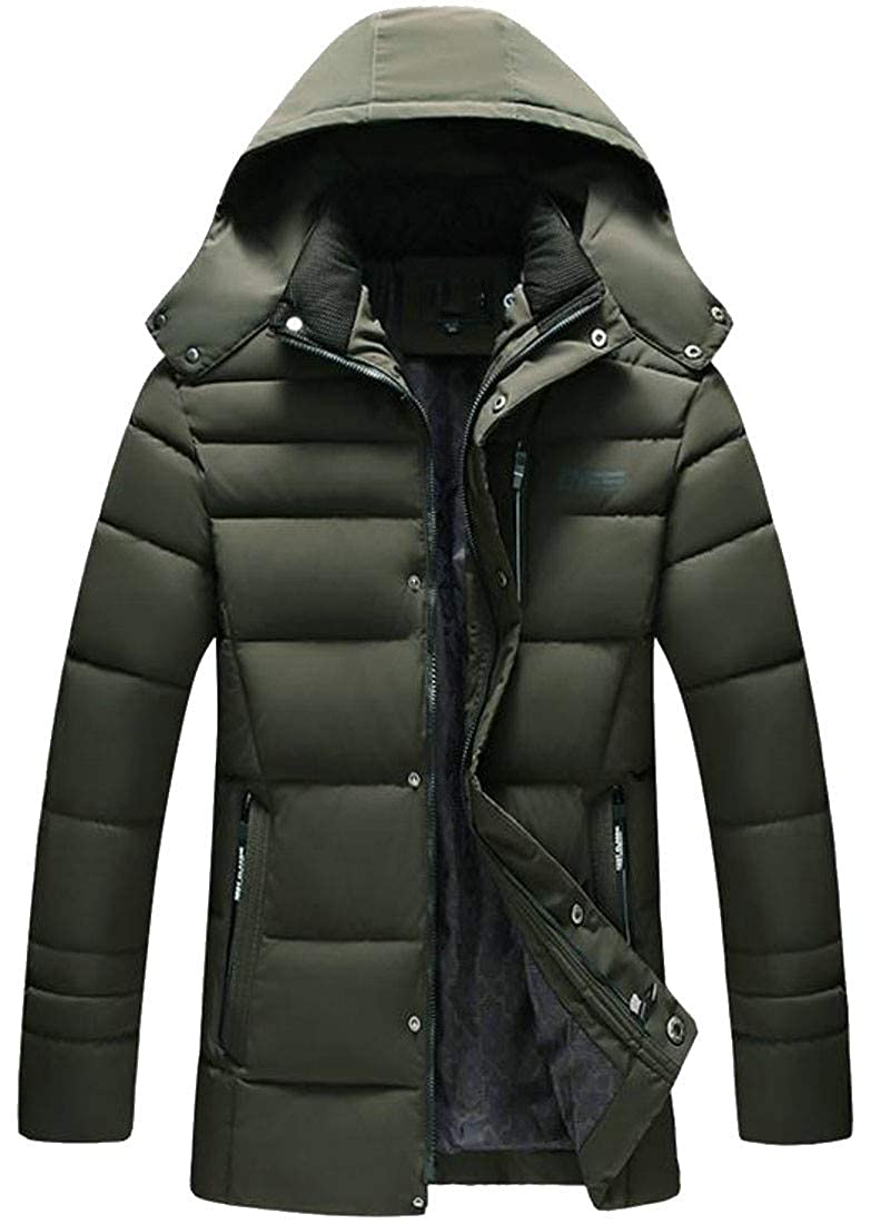 Sayhi Mens Padded Winter Hooded Quilted Thick Down Parka Coat Jacket