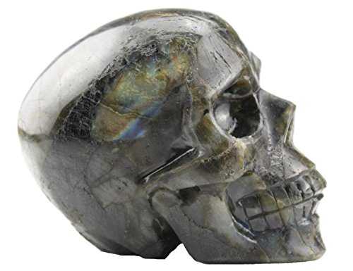 Laufout 2.54LB Natural Labradorite Carved Realistic Crystal Sculpture, Healing Energy Reiki Collectible Figurine (Normal Carved Skull)