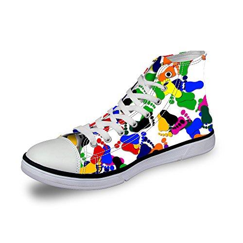For U Design Søte Leppe Utskrifter Footprints Print High-top Snøring Mote Sneaker For Kvinner Jenter Svart