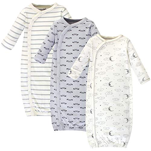 Touched by Nature Baby Organic Cotton Kimono Gowns, Mr. Moon 3-Pack, Preemie/Newborn