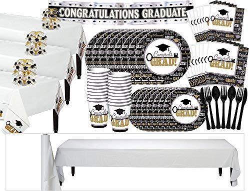 Party City Key to Success Graduation Grand Tableware Kit for 100 Guests, Includes Place Settings and Decorations