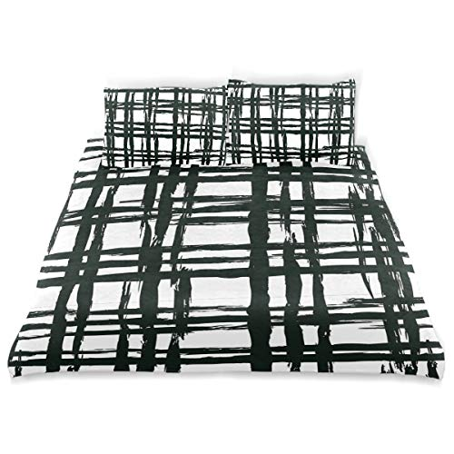 Rusked Darrener Messy Black Plaid Geometric Teens Kids Bedding 3 Pieces Home Comforter Cover Sets Twin Size Cotton Bedding Sets Children Bed