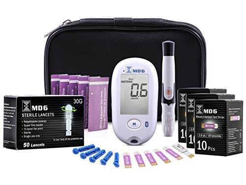 Blood Ketone & Glucose Monitoring System | Track Your Ketones & Ketogenic Diet Progress | Ketosis Test Kit with Lancing Device, 10 Blood Glucose Test Strips, 30 Keto Strips + -