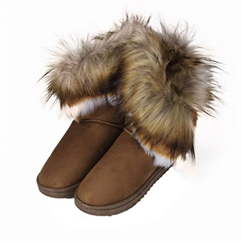 Botas Mujer,Ouneed ®Botas de mujer de moda plana de piel de tobillo forrado de invierno caliente zapatos de nieve marrón