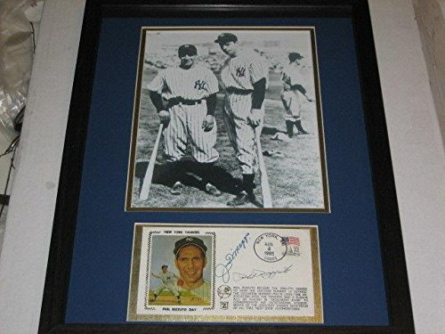 - Joe Dimaggio & Phil Rizzuto Yankees Dual Signed Autograph Framed Silk Cachet - JSA Certified - MLB Cut Signatures