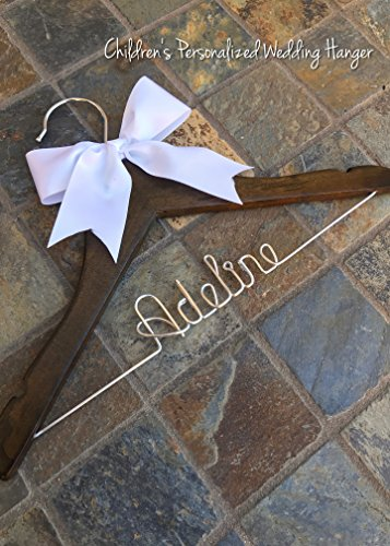 CHILD SIZE - Personalized Hanger with Satin Bow (no rose) - Baby Shower Gift - Baptism Gift - Baby Christening Gift - Flower Girl Gift - Bridesmaid Gift