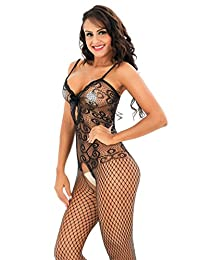 Amstt Women's Sexy Crotchless Bodystocking Strap Bodysuits Thigh Lingerie Fishnet