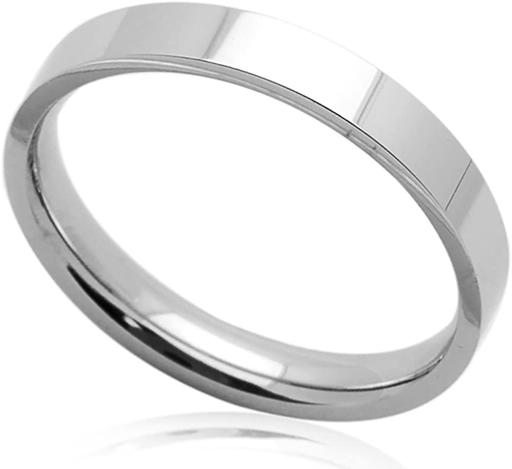 Double Accent Custom Engraving 4mm Stainless Steel Wedding Bands Promise Rings Polished Domed Comfort Fit