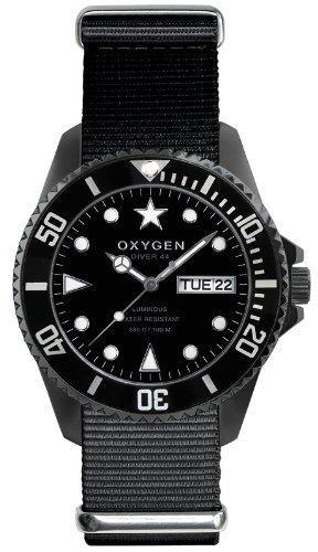 Oxygen EX-D-MBB-44-BL - Reloj analógico de cuarzo unisex, correa de nailon color negro (agujas luminiscentes)