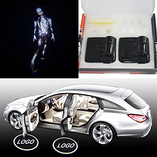 Spoya Walking dead zombie Wireless Magnetic Car door step LED welcome logo shadow ghost light laser projection projector light -