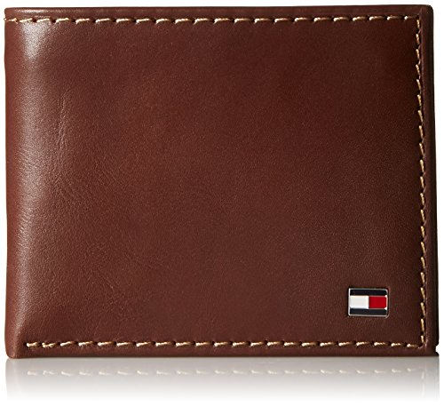 (Tommy Hilfiger Men's Leather Wallet - Bifold Trifold Hybrid Flip Pocket Extra Capacity Casual Slim Thin for Travel,Tan with Zipper)