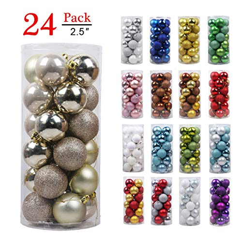 GameXcel Christmas Balls Ornaments for Xmas Tree - Shatterproof Christmas Tree Decorations Large Hanging Ball Champagne Gold 2.5