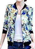 SYTX Womens Slim Fit Print Zipper Up Hip Hop Stand Collar Bomber Jacket 2 M