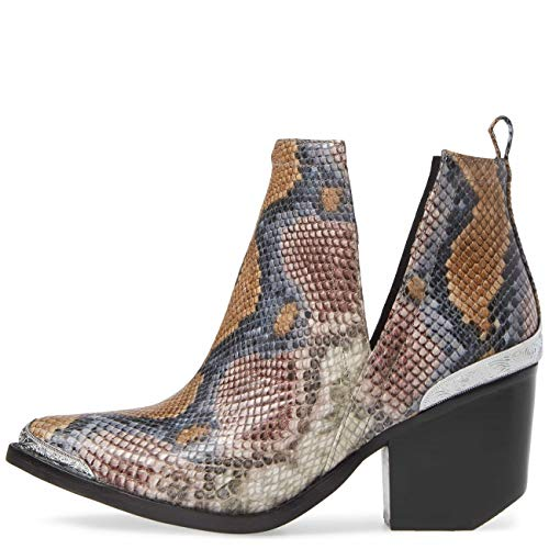 Jeffrey Campbell Cromwell Snake Embossed Grey Wine Snake Boot - Cut Out Jeffrey Campbell