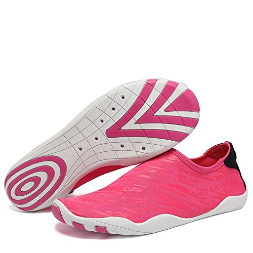 CIOR Water Shoes Men Women Aqua Shoes Barefoot Quick-Dry Swim Shoes with 14 Drainage Holes for Boating Walking Driving Lake Beach Garden Park Yoga,U1BVDSX,BL.Rose,42 by CIOR (Image #1)
