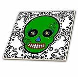 3dRose ct_28880_1 Day of The Dead Skull Dia De Los Muertos Sugar Skull Green White Black Scroll Design - Ceramic Tile, 4''