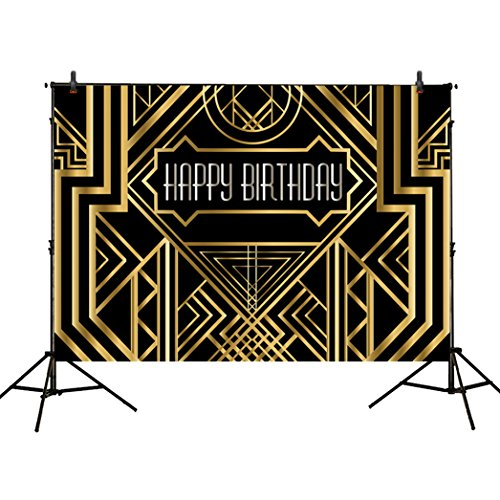 Allenjoy 8x6ft photography backdrops Great Gatsby Birthday Adults children party black and gold golden banner photo studio booth background newborn baby shower photocall (Gatsby Backdrop)
