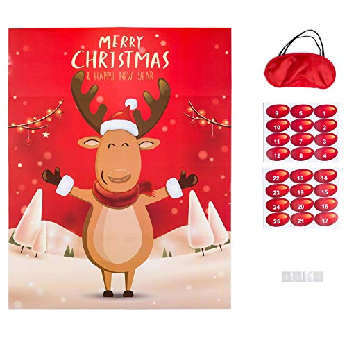 MISS FANTASY Christmas Party Games Xmas Activities Pin The Nose on The Reindeer Xmas Gifts for Kids New Year Party Favor Supplies (Reindeer) (Games Class For Parties Christmas)