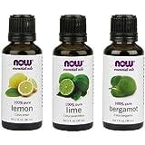 3-Pack Variety of NOW Essential Oils: Fulfill & Uplift- Lemon, Lime, Bergamot