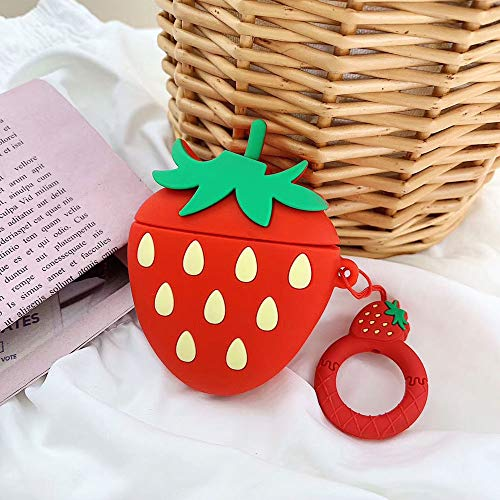 BONTOUJOUR AirPods Case, Super Cute Creative Fresh Fruit Shape Serie Soft TPU Silicone Cover Protective Skin for Apple AirPods 1&2+Ring Lanyard-Strawberry ()