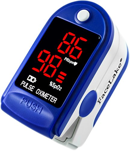 Facelake Fl400 Pulse Oximeter with Neck/wrist Cord, Carrying Case and Batteries