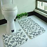 Microfiber Bathroom Contour Rugs Combo, Set of 2 Soft Shaggy Non Slip Bath Shower Mat and U-Shaped Toilet Floor Rug