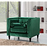 Meridian Furniture 642Green-C Taylor Button Tufted Velvet Upholstered Armchair with Square Arms, Custom Solid Wood Legs, and Included Bolster Pillows, Green