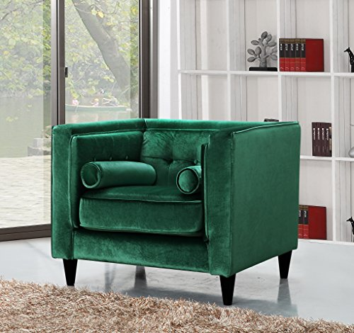 Meridian Furniture 642Green-C Taylor Button Tufted Velvet Upholstered Tuxedo Armchair with Square Arms, Custom Solid Wood Legs, and Included Bolster Pillows, Green