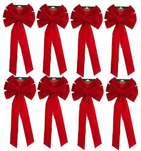 Pack Of 8 Red Velvet Bow 26
