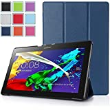 Lenovo Tab 2 A10 Case - HOTCOOL Ultra Slim Lightweight SmartCover Stand Case For 2015 Released Lenovo TAB 2 A10-70 Tablet(With Smart Cover Auto Wake/Sleep), Navy Blue