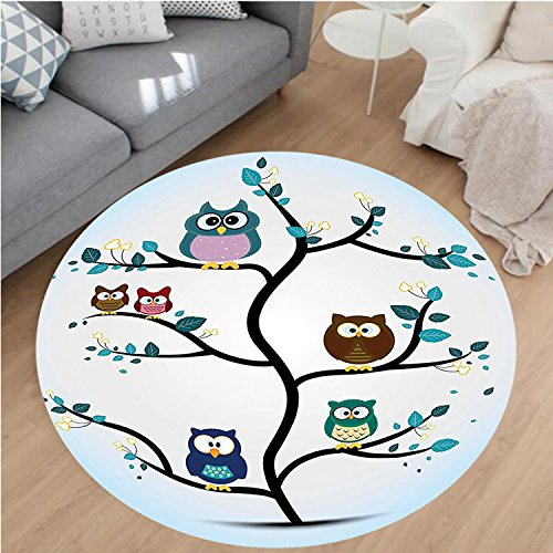 Nalahome Modern Flannel Microfiber Non-Slip Machine Washable Round Area Rug-amily Perched on a Tree Love Grace Nocturnal Eyed Night Animals in the Nature Print Multi area rugs Home Decor-Round 36