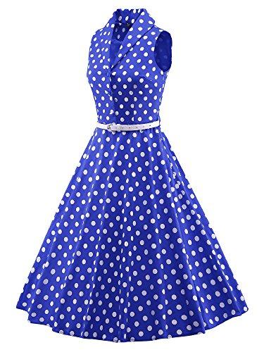 LUOUSE 50s Vestidos Vintage Retro Rockabilly Clásico con cinturón fino V054-Azul