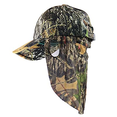 Mossy Oak Break Up Camouflage Cap, Camo Hunting Hat with Face Mask Technology