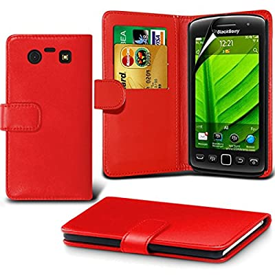 Fone-Case Blackberry 9860 Torch (RED) Protective Executive PU Leather Wallet Case Cover With LCD Screen Protector Guard & Retractable Capacative Stylus Pen from Fone-Case