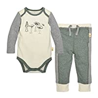 Burt's Bees Baby Baby Organic Long Sleeve Bodysuit and Pant Set, Eggshell Mus...