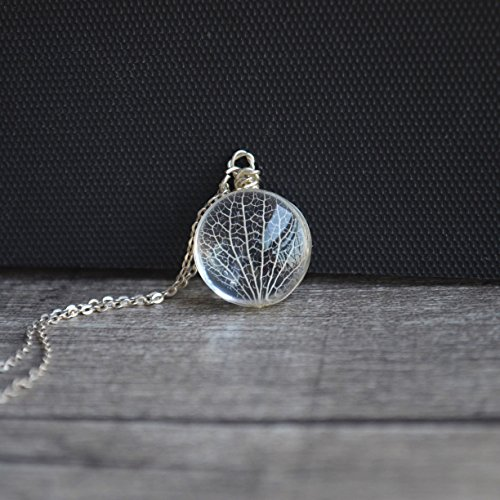 Kabbalah Tree of Life Leaf Vein Real Flowers Glass 925 Sterling Silver Necklace ()