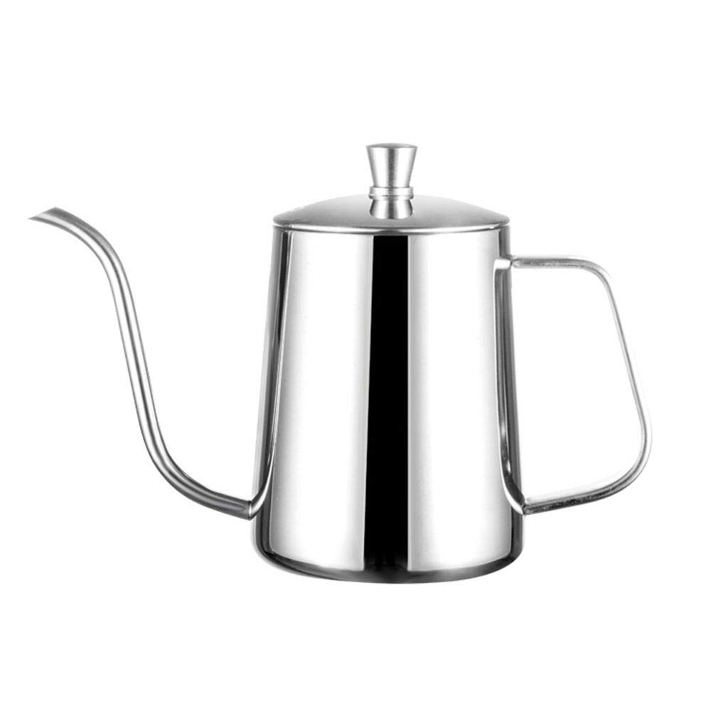 Coffee Teapot, 304 Stainless Steel Hanging Ear Coffee Hand Pot, With Lid Teflon Surface Coating Drip Coffee Nozzle,great To Use At Home, Restaurants, Bars And Parties,capacity: 600ml, high light