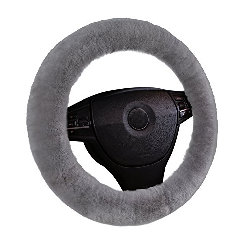 Winter Wheel Packages (U&M Car Stretch-on Steering Wheel Cover Soft Australian Natural Sheepskin Luxurious Wool Vehicle Non-slip Wheel Cushion Protector Available for 35cm-43cm)