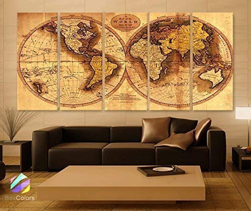 "Original by BoxColors Xlarge 30""x 70"" 5 Panels 30x14 Ea Art Canvas Print Original World Map Old Vintage Rustic Wall Decor Home Office Interior (Included Framed 1.5"" Depth) from BoxColors"